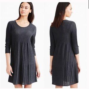 Eileen Fisher Washable Wool Dark Grey Scoop Neck Dress Size Large